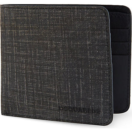 D SQUARED Distressed leather wallet (Black