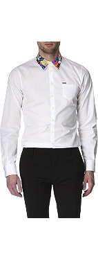 D SQUARED Patterned-collar slim-fit single cuff shirt