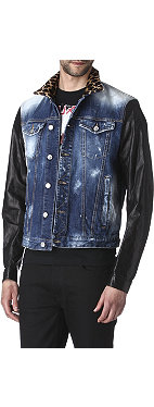 D SQUARED Leopard-collar denim jacket