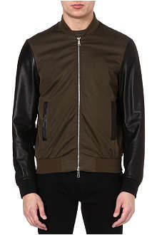 D SQUARED Leather college bomber jacket