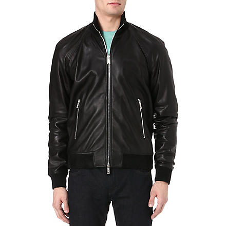 D SQUARED Leather bomber jacket (Black