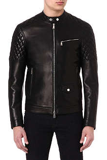 D SQUARED Quilted-panel leather biker jacket