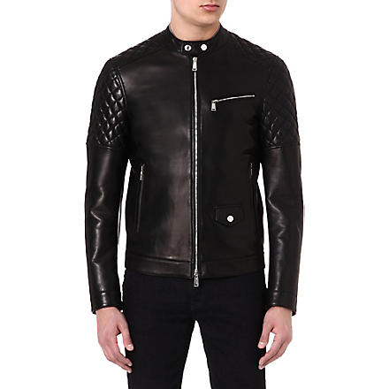 D SQUARED Quilted-panel leather biker jacket (Black