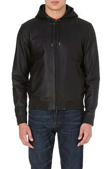 D SQUARED Hooded leather jacket