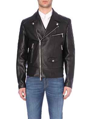 D SQUARED Biker-collar leather jacket