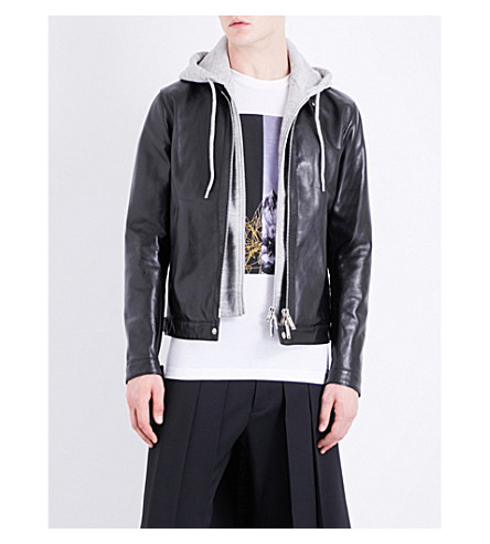 DSQUARED2 Detachable-hood leather jacket (Black