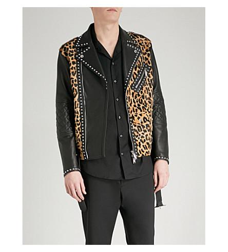 DSQUARED2 Leopard-print leather jacket (Black
