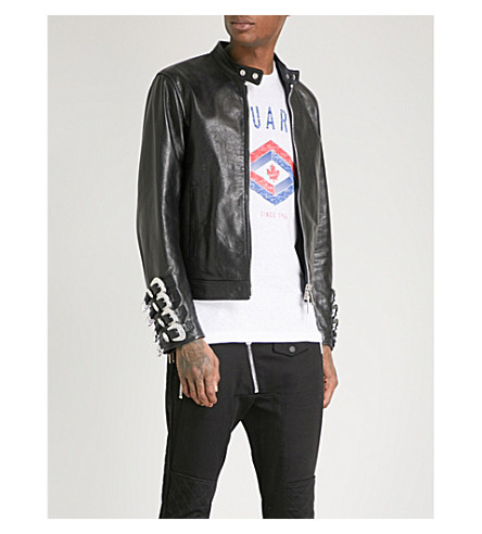 DSQUARED2 Buckled-cuffs leather jacket (Black