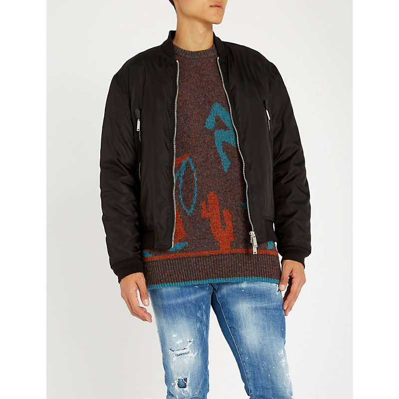 DSQUARED2 LOGO-APPLIQUÉ SHELL-DOWN BOMBER JACKET