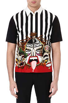 D SQUARED Tribal Face striped polo shirt