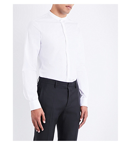 DSQUARED2 Mandarin-collar slim-fit cotton-poplin shirt (White
