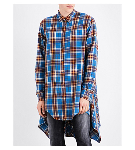 DSQUARED2 Checked oversized cotton-flannel shirt (Blueyellowred