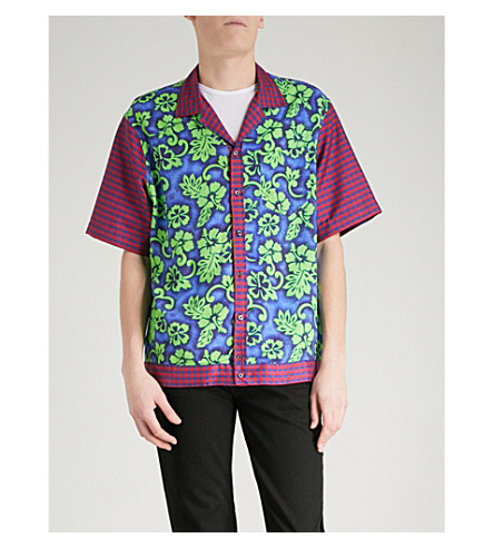 DSQUARED2 Floral and gingham-print woven shirt (Blue+green