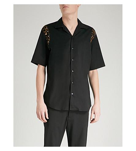 DSQUARED2 Leopard-print panel cotton shirt (Black