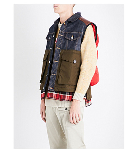 DSQUARED2 Contrast-panels quilted gilet (Green+white+red