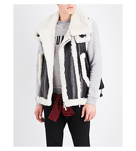 DSQUARED2 Shearling leather and quilted gilet (Black
