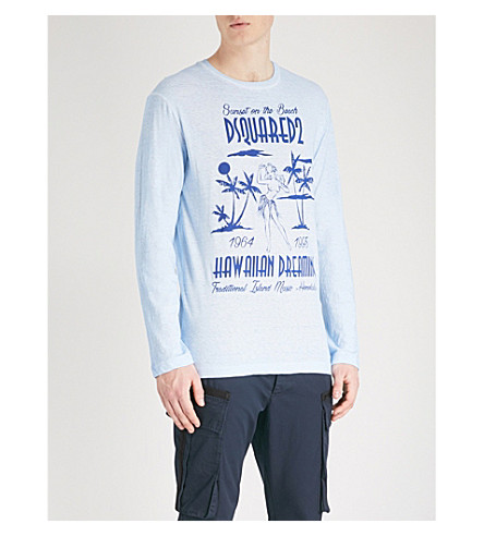 DSQUARED2 Printed cotton-jersey top (Light+blue