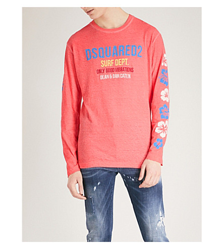 DSQUARED2 Logo-print cotton top (Coral