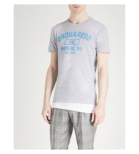 DSQUARED2 Short sleeved logo T-shirt (Grey+mel
