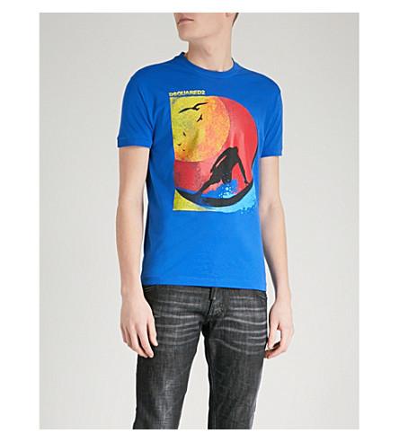 DSQUARED2 Surfer-print cotton-jersey T-shirt (Blue