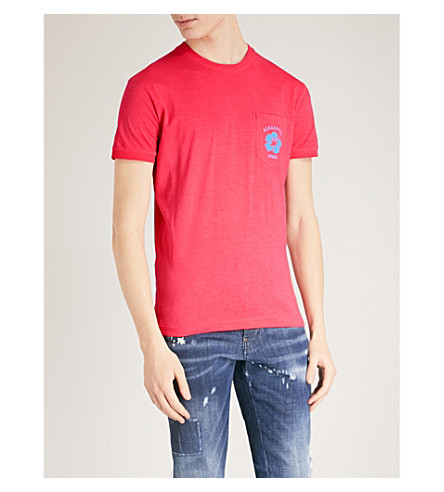 DSQUARED2 Flower-print cotton-jersey T-shirt (Red