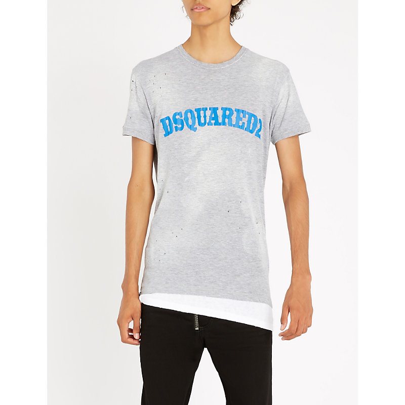 DSQUARED2 WESTERN-LOGO COTTON-BLEND T-SHIRT