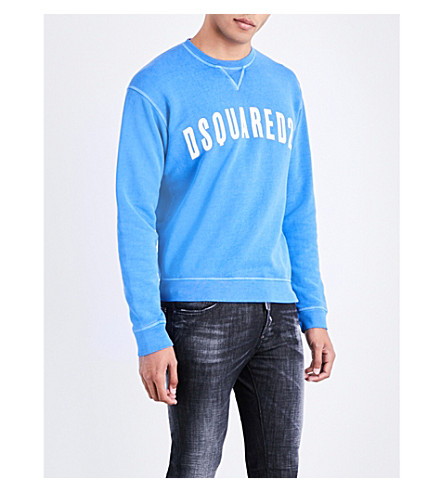DSQUARED2 Logo-print cotton-jersey sweatshirt (Bluette
