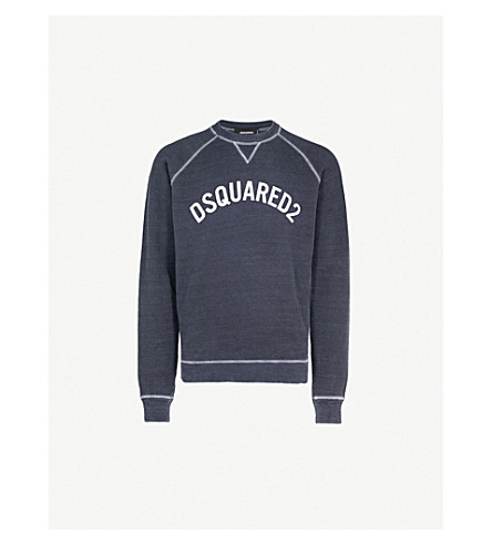 DSQUARED2 Logo-detail cotton-jersey sweatshirt (Blue