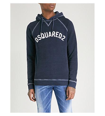 DSQUARED2 Logo-print cotton-jersey hoody (Blue