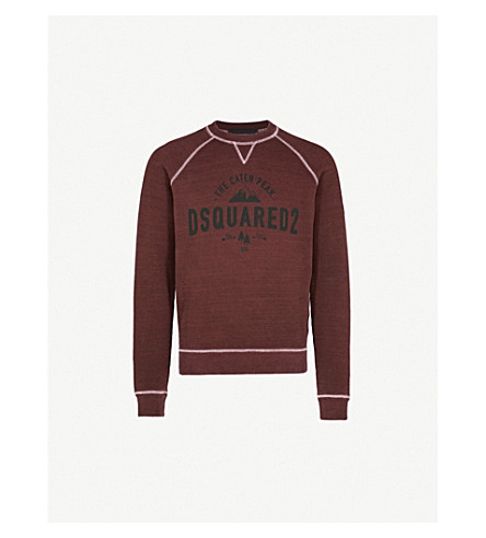 DSQUARED2 Logo-detail cotton-jersey sweatshirt (Brick+red