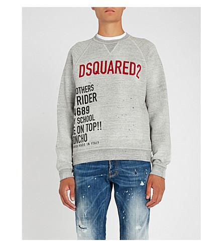 DSQUARED2 Slogan-print cotton-jersey sweatshirt (Grey