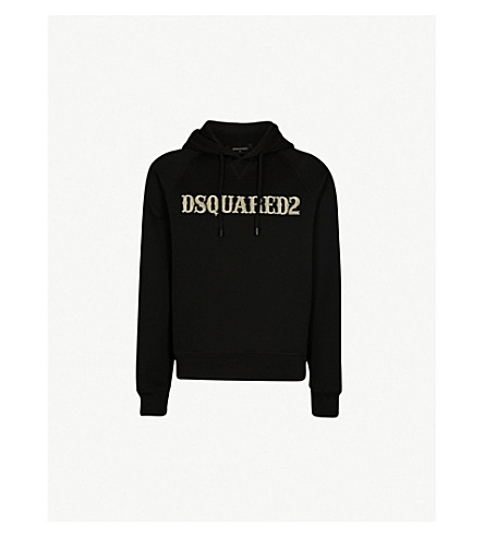 DSQUARED2 Embroidered-logo cotton-blend hoody (Black