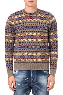 D SQUARED Fair Isle knitted jumper