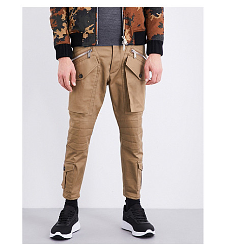 DSQUARED2 Biker-detailed regular-fit twill trousers (Brown