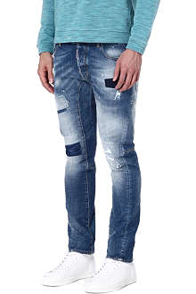 D SQUARED Biker patch regular-fit tapered jeans