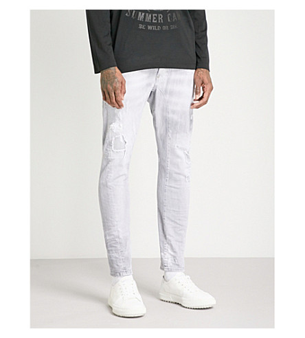 DSQUARED2 Biker slim-fit skinny jeans (Light+grey