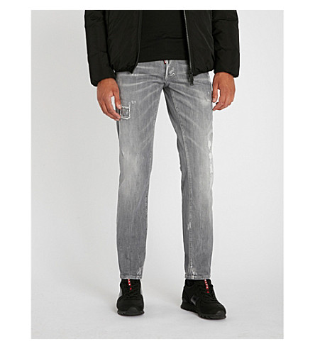 DSQUARED2 Distressed slim-fit stretch-denim jeans (Grey