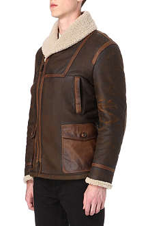 D SQUARED Shearling leather coat