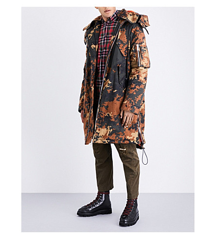 DSQUARED2 Camouflage cotton parka jacket (Brown+black+green