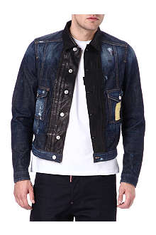 D SQUARED Leather panel denim jacket