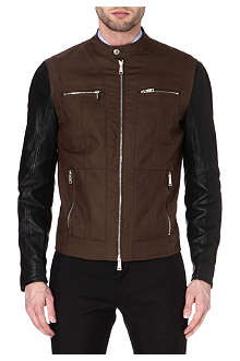 D SQUARED Leather-sleeved biker jacket