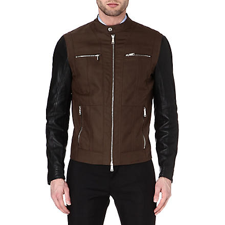 D SQUARED Leather-sleeved biker jacket (Green/black