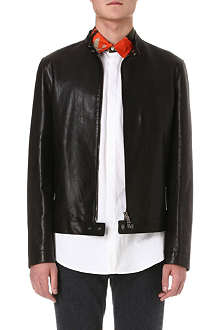 D SQUARED Popper-detail leather jacket