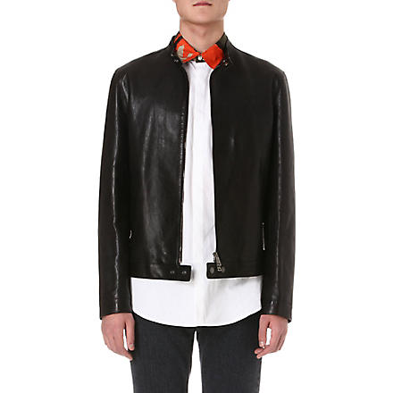 D SQUARED Popper-detail leather jacket (Black