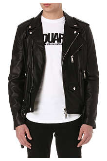 D SQUARED Slim-fit leather biker jacket