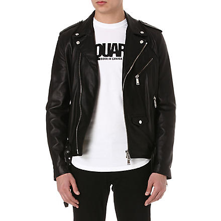 D SQUARED Slim-fit leather biker jacket (Black