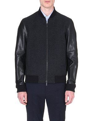 D SQUARED Leather-sleeved wool bomber jacket