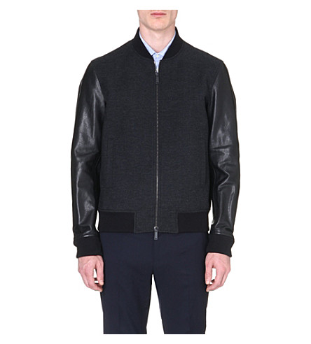 D SQUARED Leather-sleeved wool bomber jacket (Charcoal