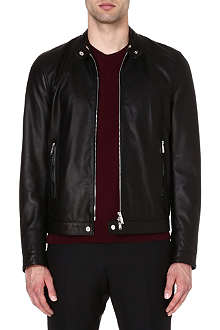 D SQUARED Band-collar leather jacket