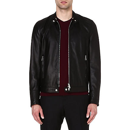 D SQUARED Band-collar leather jacket (Black